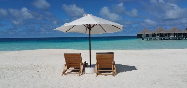 parasol and beach chairs